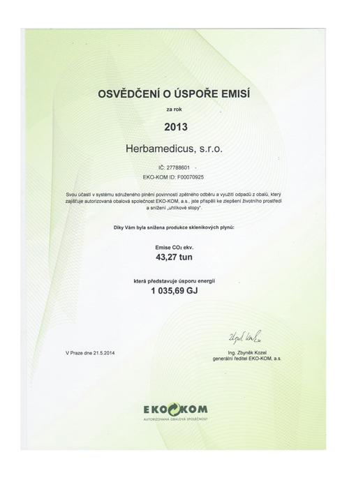 Certificate of emission savings