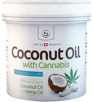 Coconut oil with hemp for skin use - 250 ml